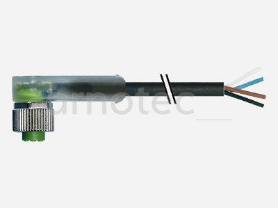 Verbindungsleitung M12 Bu. gew. mit LED freiem Leitungsende 3pol. 3m